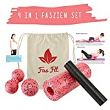 Faszien Fitness 4 in 1 Set (Rot): Faszienrolle + Mini-Rolle + Duoball + Faszienball + Baumwoll-Turnbeutel + 16seitiges Trainingsheft in Farbe + eBook