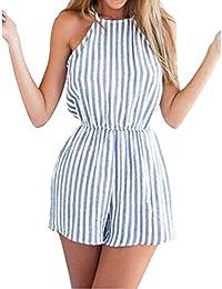 Femmes Combinaisons Juleya Eté Taille Elastique bleu et blanc Casual Plage Romper Jumpsuit S M L XL