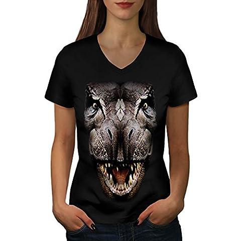 T-Rex Dinosaure jurassique Histoire Femme S T-shirt à col en V   Wellcoda