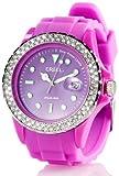 Crell Frauenarmbanduhr: SOLAR-betriebene Uhr mit Silikonarmband & Strass-Steinen, purpur (Damen-Armbanduhr mit Solar)
