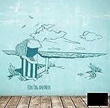 WandtattooWandaufkleber Strandkorb am Meer maritim EIN Tag am Meer M1496 - ausgewählte Farbe: *Schwarz* ausgewählte Größe:*M 100cm breit x 61cm hoch