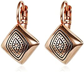 Ziory Alloy Rose Gold Plated Fashionable Trendy Exquisite Carved Square Shaped Party wear Fancy Rose Gold Stud Earrings For Girls and Women