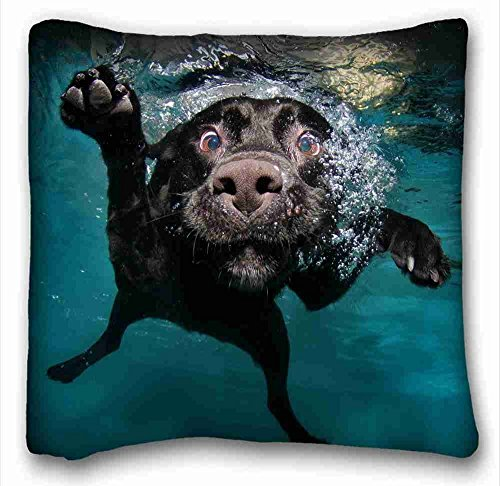 Soft Pillow Case Cover ( Animal Dog Dog Water Underwater Black Labrador ) Custom Cotton & Polyester Soft Rectangle Pillow Case Cover 16×16 inches (One Side) suitable for Full-bed PC-Purple-2699