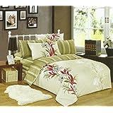 155x200 grün ecru rot Bettwäsche Bettbezüge Bettwäschegarnituren Baumwolle pflegeleicht green ecri red