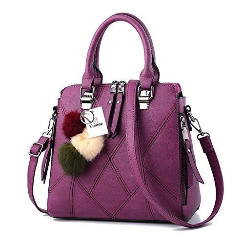 Yoome Borsa a mano Donna Tote Bags Borsa a chiusura con cerniera Borsa a tracolla Tote Vintage Borsa a tracolla - Verde D.purple