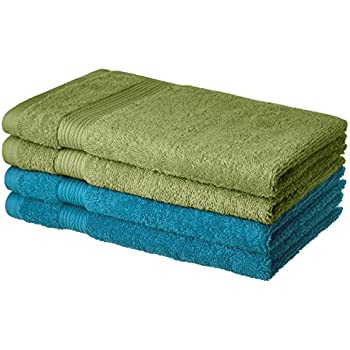 Amazon Brand - Solimo 100% Cotton 4 Piece Hand Towel Set, 500 GSM (Olive Green and Turquoise Blue)