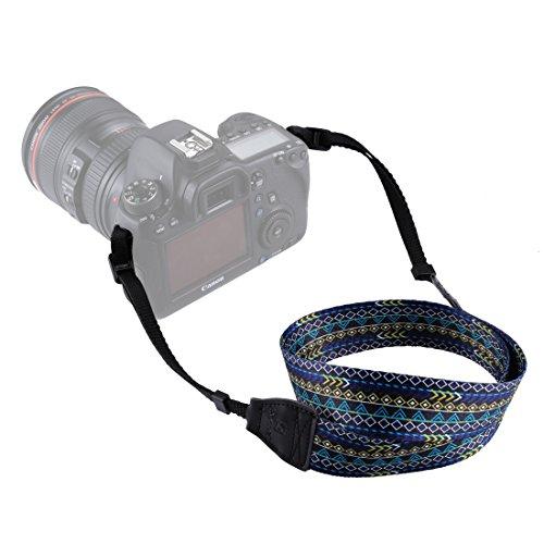 Movoja Kameragurt Retro Blau | Universal DSLR Kamera SLR Tragegurt Schultergurt für Nikon Canon...