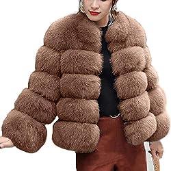 TianWlio Jacken Parka Mäntel Herbst Winter Warme Jacken Strickjacken Damen Mode Luxus Kunstpelz Mantel Stehen Herbst Winter Warmer Mantel Braun XXL