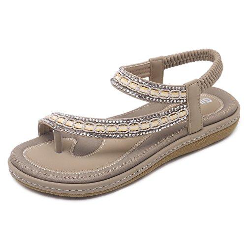 CARETOO Damen Sandalen,Flach Sandalen Sommer Weiches Leder Freizeit Damen Sandalen