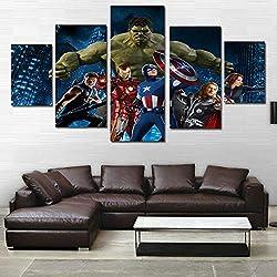 ZEMER Marvel DC Comic Superheroes CuadrosEn Lienzo Mural Fotos del Cartel 5 Piezas De Pintura Moderna para Decoración De Habitación (Sin Marco),L