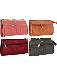 Flora Premium PU Leather Women's And Girls Wallet Clutch Combo Of 4 (Maroon / Black / Mustard / Peach Color)