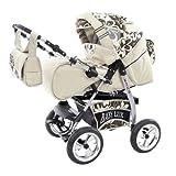 Lux4Kids King Kinderwagen Komplettset (Autositz, Regenschutz, Moskitonetz, Getränketablett, Matratze, Wickelunterlage) 52 Cream & Chocolate Flowerpower