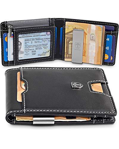 TRAVANDO  Portafoglio uomo piccolo con protezione RFID 'DUBAI' Porta carte di credito con clip per contanti, Portafogli Porta tessere slim tascabile, Portatessere Raccoglitore banconote sottile