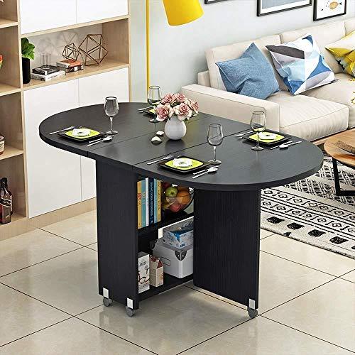 WJQSD Klapptisch Tisch mit Rädern einfache Wohnzimmer faltbar Couchtisch Oval Esstisch multifunktionale mobiler Tisch Multifunktionaler Klapptisch für den Innenbereich, (Color : E) -