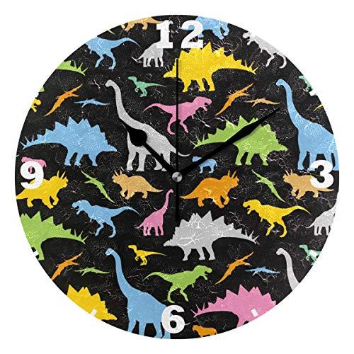 Domoko Home Decor Dinosaurier Animal Print Acryl, Rund Wanduhr Geräuschlos Silent Uhr Kunst für Wohnzimmer Küche Schlafzimmer