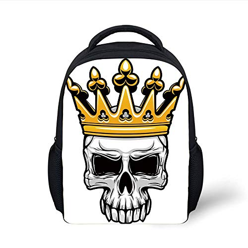 Kids School Backpack King,Hand Drawn Crowned Skull Cranium with Coronet Tiara Halloween Themed Image Decorative,Golden and Light Grey Plain Bookbag Travel Daypack
