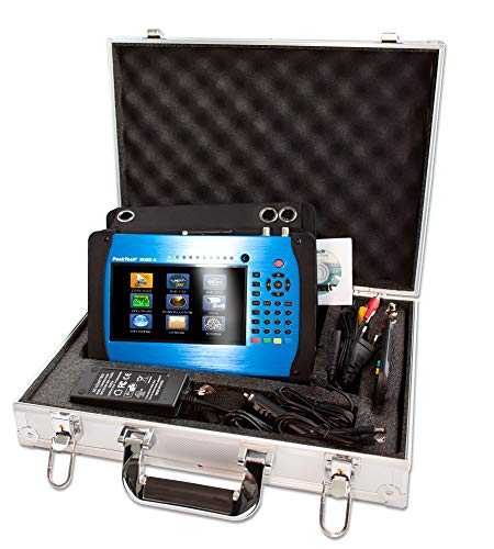 PeakTech P 9020 A Messgerät C/C2, T/T2, DVB-S/S2 mit 18cm Farb-TFT Display, H.265 Codec, Live-TV Bild, Winkelberechnung, Test-Report, HDMI, Receiver, Spectrum, WiFi, LAN und USB