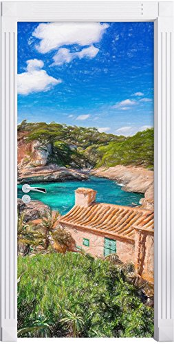Ferienhaus an der spanischen Küste Kunst Buntstift Effekt als Türtapete, Format: 200x90cm,...