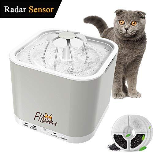 Flightbird 1.5m Radar Sensing Haustier Wasserspender, Automatischer Trinkbrunnen with 3 Arbeitsmodi, Super Silent Trinkwasser Dispenser mit LED-Licht & 3 Ersatzfilter für Katzen und Hunde (2L) …