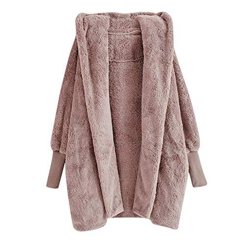 (Zegeey Damen Strickjacken Hooded Sweatshirt Coat Winter Warm Plush Pockets Cotton Top Kurzarm Stricken Hem Coat Outwear Karneval Fasching Fasnacht Knielang)