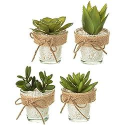 Dcasa - Pack 4 cactus artificial plástico en maceta de cristal