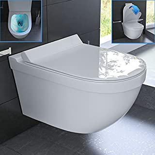 Ceramic hanging WC Rimless Toilet, without Flushing Rim, Toilet including WC-Seat Soft-Close, suitable for Geberit