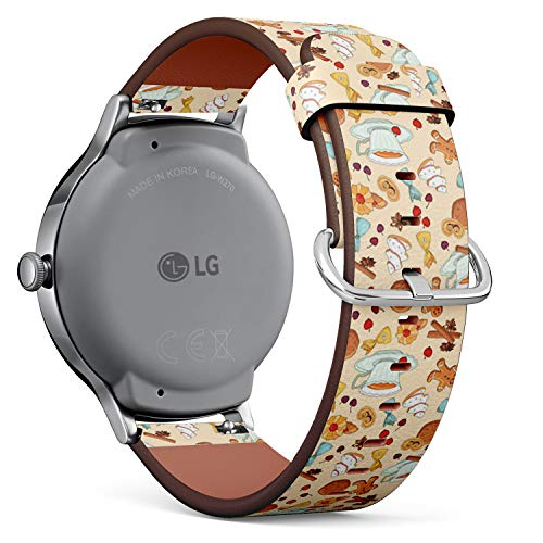 Compatible with LG Watch Style - Leather Watch Wrist Band Strap Bracelet with Quick-Release Pins (Bakery Tea Desserts)