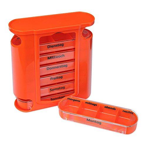 Schramm Tablettenbox Orange mit Orangen Schiebern 7 Tage Pillen Tabletten Box Schachtel Tablettendose Pillendose Pillenbox Tablettenboxen Pillendosen Pillen Dose Wochendosierer