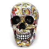 UMIWE Taille réelle Crâne Humain, Fleur Tête de Mort résine Spooky Halloween Décoration intérieure, tête de Squelette Décoration de Table (114x 180x 155mm, réaliste)