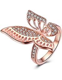 ae36850a7c91 YAZILIND Joyas de 18 Quilates de Oro Rosa de la Mariposa Plateado Cubic  Zirconia Bonito Anillo