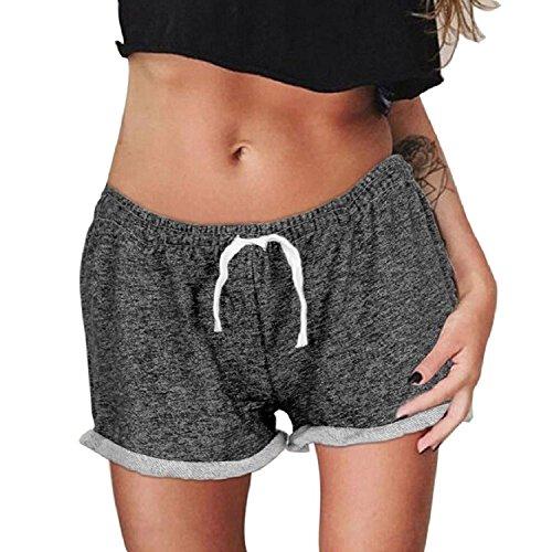 Minetom Femme Pantalons Collants Courts Sport Leggings Yoga Courir Jogging Fitness Entraînement Loisir Classique Elastique Shorts Noir