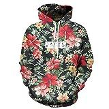 Mode Männer/Frauen Hoodies mit Kappe drucken rote Blumen grüne Blätter 3D mit Kapuze Sweatshirts Hoody Trainingsanzug YXQL243 L