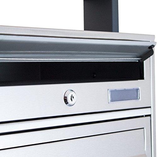 BITUXX® Design Edelstahl Doppel Stand-Briefkastenanlage Postkasten Letterbox Mailbox mit 10 Fächer und Dunkelgrauen Standrohren - 7