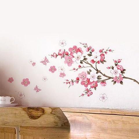 1Pcs Murales Adesivi Rosa Fiori Pesca Fioritura Farfalla Parete Dcorazione Vinile Rimovibile DIY Casa Hotel Ristorante Soggiorno Camera da Letto Ufficio