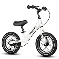 """FJ-MC 12"""" Balance Bike, No Pedal, with Hand Brake and Inflatable Tyres, Unisex Walking Training Bicycle, 30kg Capacity, for 2-5 Year Old Kids,White"""
