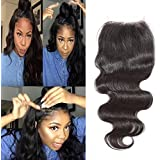 14\ , Free Part : Brazilian 4x4 Inches Body Wave Human Hair Lace Closure Natural Black Hair Piece With Bleached...