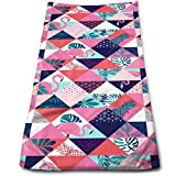 """WITHY Pink Flamingos and Tropical Palm Leaves Super Soft Polyester Extra-Absorbent Bath Towel Hand Towel Hair Towel 11.8"""" X 27.5"""""""
