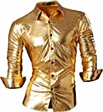 jeansian Men's Fashion Bronzing Bling Shiny Slim Button Down Long Sleeves Dress Shirts Tops Z036 Gold S