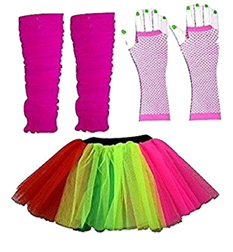 Damen 3 Layer Tutu Set, Beinwärmer & Fischnetz Handschuhe Größe 36-44 (Regenbogen-Multi)