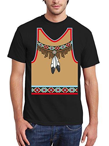 clothinx Herren T-Shirt Karneval Indianer Schwarz Größe M -