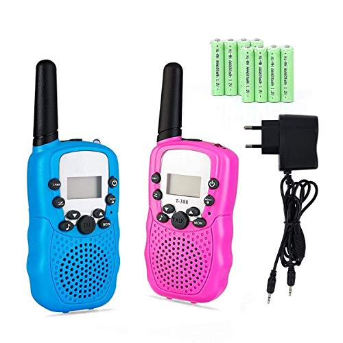 Lomoo Talkies Walkies pour Enfants, Talkie Walkies Rechargeable 3 km de Long Distance Interphone Cadeau De Enfants Jouets (avec Batteries et Chargeur, Rose&Bleu)