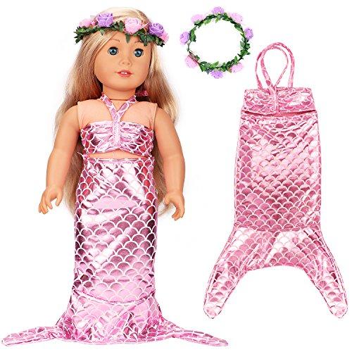 (VAMEI 18-Zoll-Amerikanisches Mädchen Puppenkleider Zubehör Meerjungfrau Schwanz Kostüm für Mädchen Kinder)