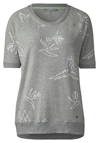 CECIL Damen Sportives Vogel Print Shirt mineral grey melange (grau)