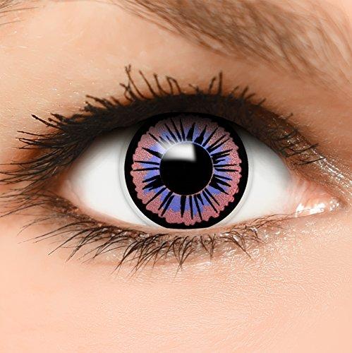 Farbige Kontaktlinsen Fee in lila schwarz + Behälter - Top Linsenfinder Markenqualität, 1Paar (2 ()