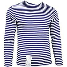 Di Russia mil Telnyashka T-Shirt - Strisce blu a maniche lunghe