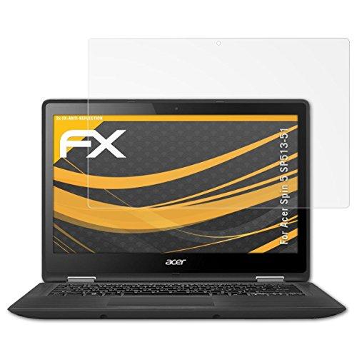 atFolix Panzerfolie kompatibel mit Acer Spin 5 SP513-51 Schutzfolie, entspiegelnde & stoßdämpfende FX Folie (2X)