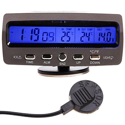 NAMVO LCD Auto Digital Innen Außen Thermometer Spannungstester Voltmeter Spannungsmesser KFZ PKW Datum Uhr Alarm