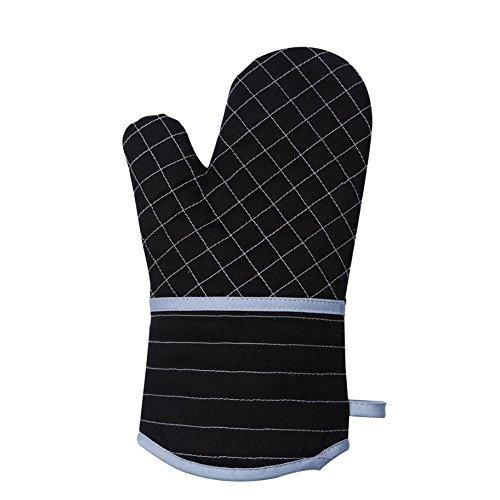 Les Grilles de Gabriera Rayures et gant résistant à la chaleur Manique épaissir Manique pour four à micro-ondes de cuisson Cuisine Cuisson Noir, Coton, Upper Grids (Single), Taille unique