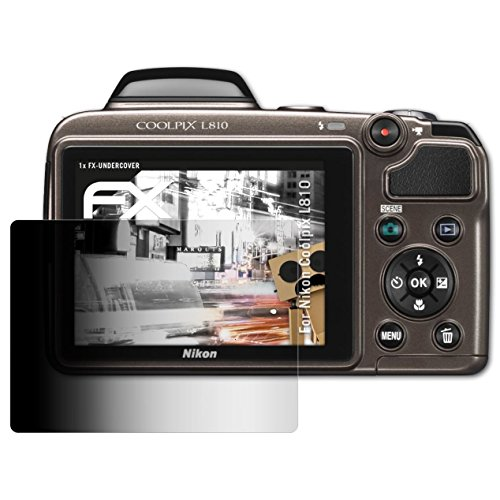 atFoliX Blickschutzfilter kompatibel mit Nikon Coolpix L810 Blickschutzfolie, 4-Wege Sichtschutz FX Schutzfolie