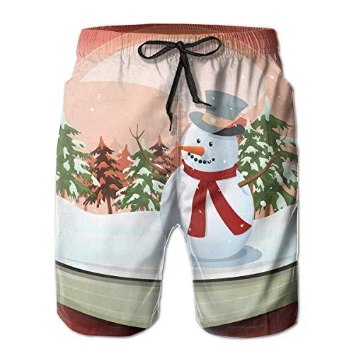 Schneemann im Winter Schneeball Quick Dry elastische Spitze Boardshorts Strand Shorts Hosen Badehose Cute Mens Badeanzug mit Taschen XXL - Schneemann Wie Man Einen